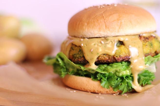 Veganer Pakora-Burger