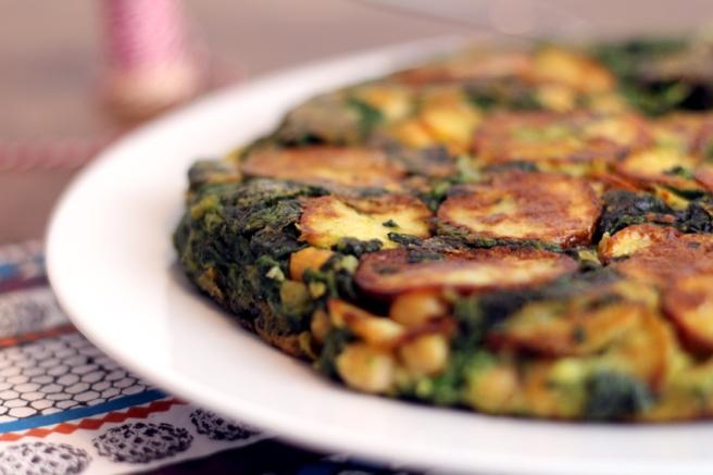 spanische Tortilla vegan Kichererbsen Spinat