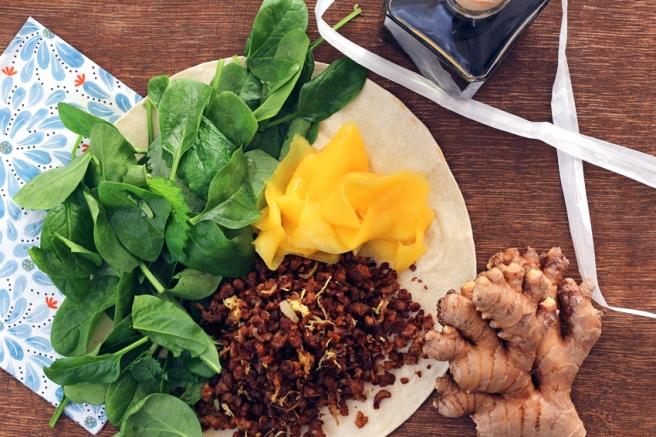 Vegane Wraps mit Mango süß-sauer